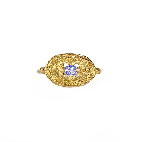Blue Sapphire Shield Signet Ring
