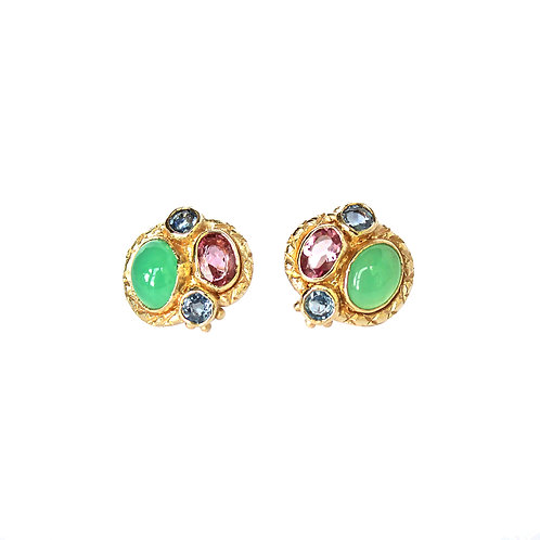 Blue, Green & Pink Queenie Studs