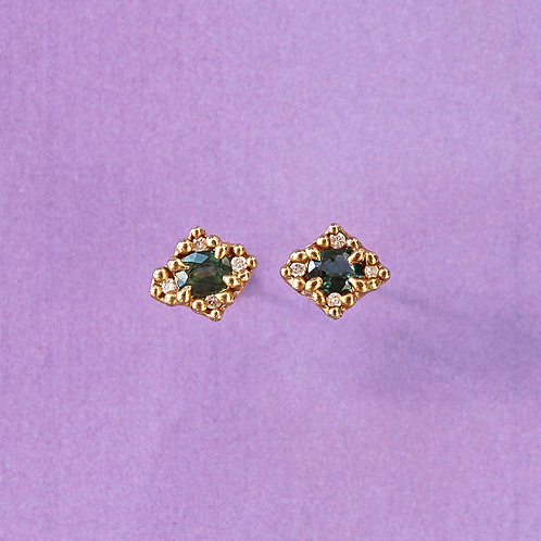 Gold Mini Croix Earrings with Green Sapphires