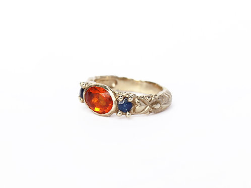 Orange Three Stone Carved Ring