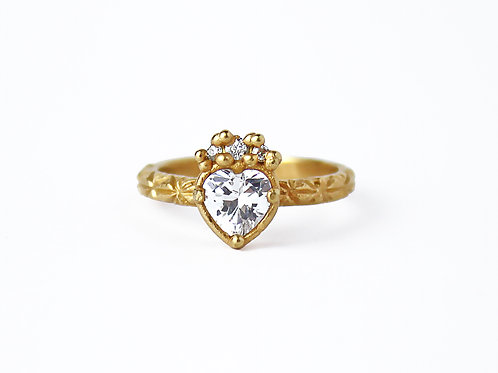 White Diamond Crowned Heart Ring
