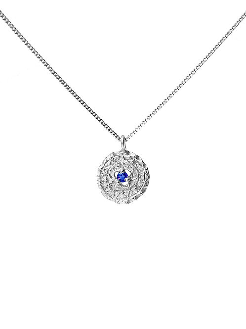 Shield Pendant with Sapphire