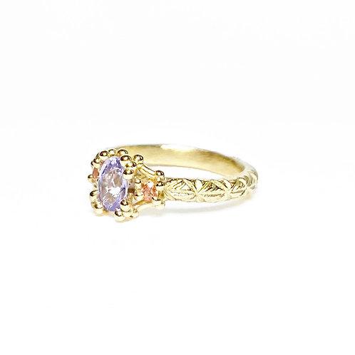 Purple & Peach Sapphire Trio Ring