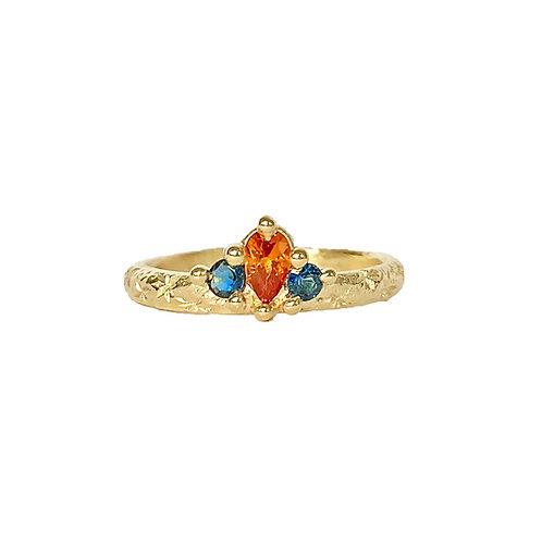 Orange & Blue Crown Ring