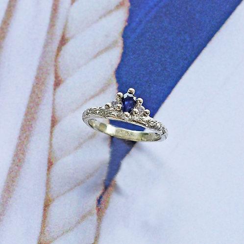 White & Blue Crown Ring