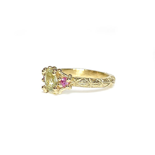 Green & Pink Sapphire Trio Ring