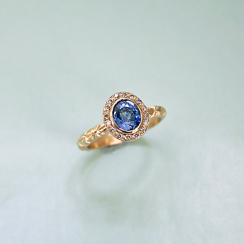 Sapphire Halo Ring for Chris Crawshay Jones