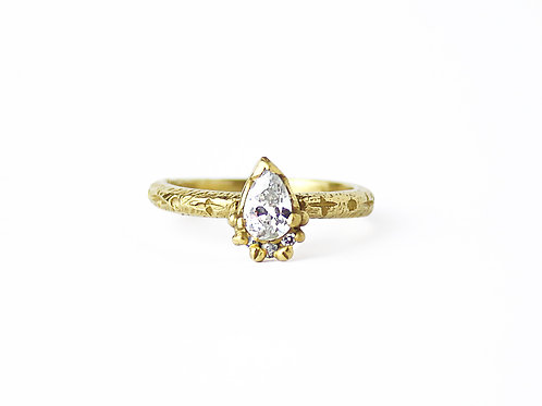 White Pear Diamond Ring with Frill