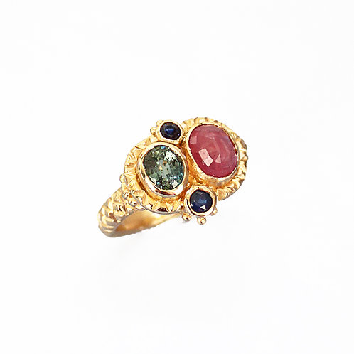 Red & Blue Queenie Ring