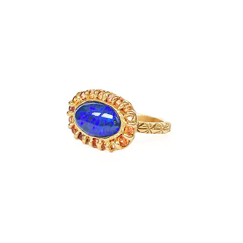 Black Opal & Sapphire Halo Ring
