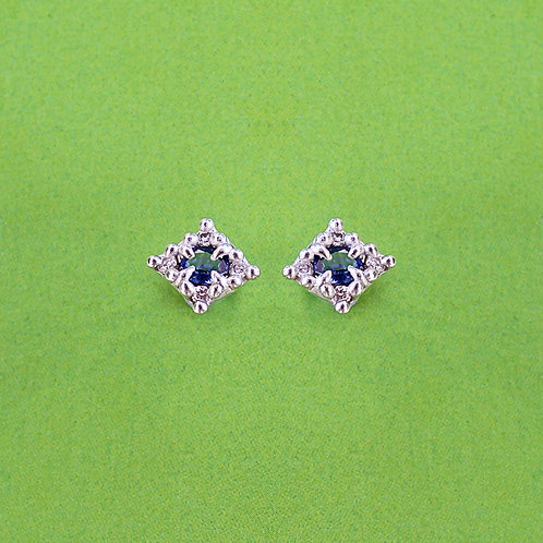 Mini Croix Earrings with Blue Sapphires