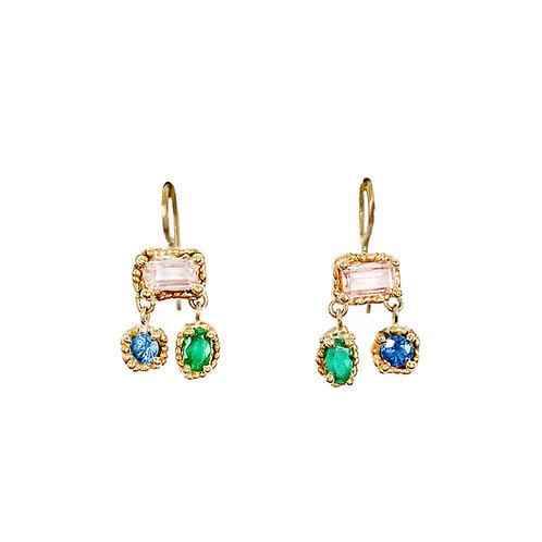 Pink, Blue & Green Trio Chandelier Earrings