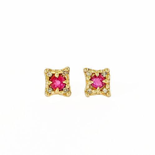 Gold Mini Croix Earrings with Rubies