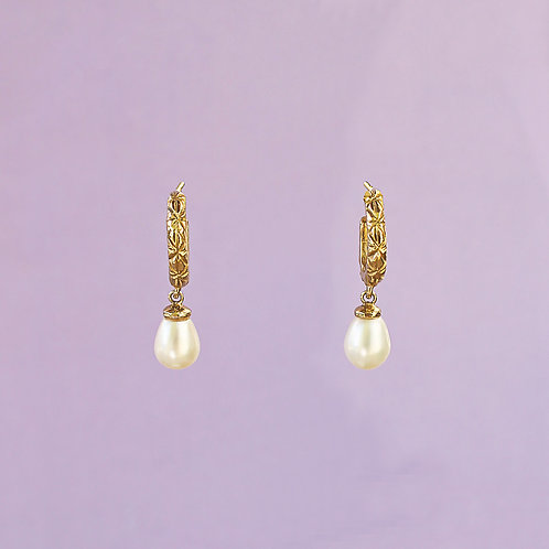 Yellow Gold Asterisk Pearl Hoops
