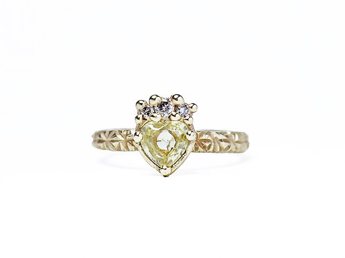 Yellow Crowned Heart Ring