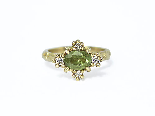 Green Sapphire Croix Ring