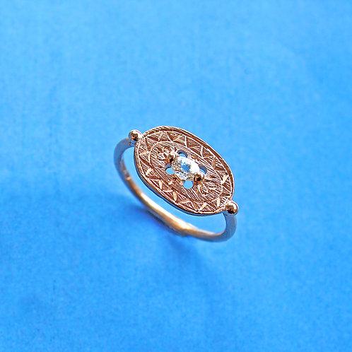 White Sapphire Shield Signet Ring