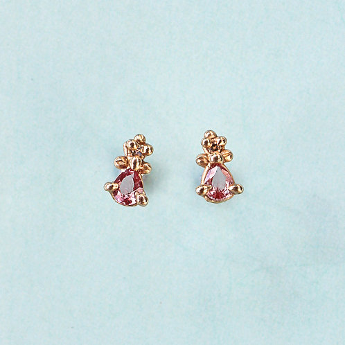 Gold Mini Pear Croix Earrings with Pink Sapphires