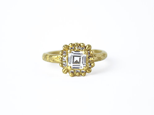 White Asscher Diamond Halo Ring