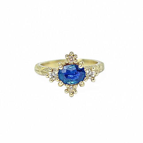 Blue Sapphire Croix Ring