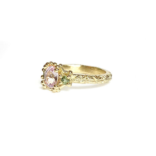 Pink & Green Sapphire Trio Ring