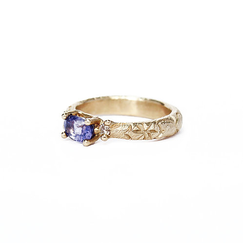 Purple Oval Sapphire Trilogy Ring