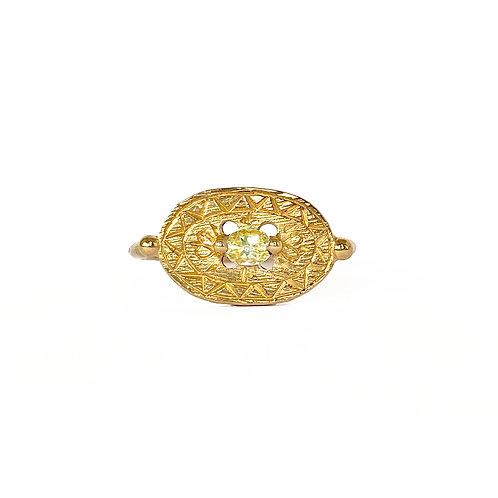 Yellow Sapphire Shield Signet Ring