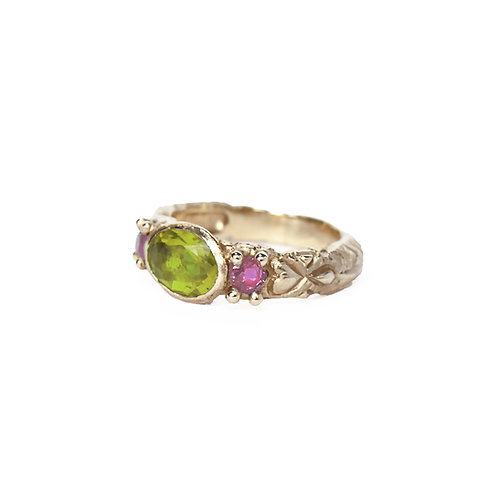 Green Three Stone Carved Ring
