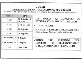 MATRICULACIÓN  ESO, BACHILLERATO Y FP BÁSICA CURSO 2021/22