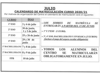 CALENDARIO DE MATRICULACIÓN 2020/2021