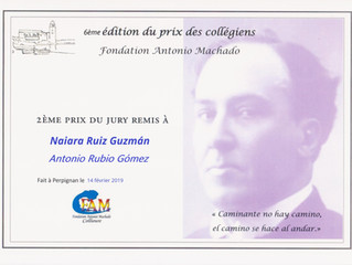 """¡La """"Fondation Antonio Machado"""" de Collioure (Francia) premia a nuestros alumnos!"""