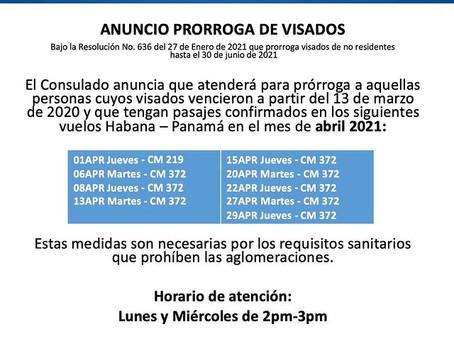 Consulado de Panamá en La Habana sólo atenderá a personas con vuelos confirmados marzo y abril 2021.
