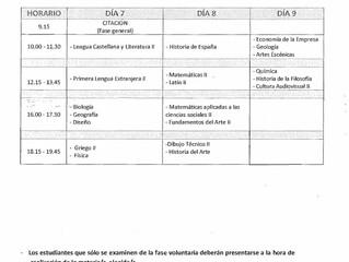 Calendario de la prueba de acceso a la Universidad (EVAU)