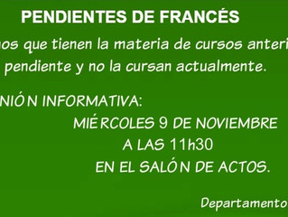 Pendientes de francés: Reunión informativa