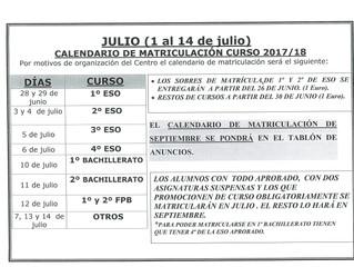 CALENDARIO MATRICULACIÓN JULIO