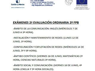 EXÁMENES 2ª EVALUACIÓN ORDINARIA 2º FPB