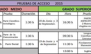 Calendario Pruebas de Acceso a Ciclos Formativos 2015
