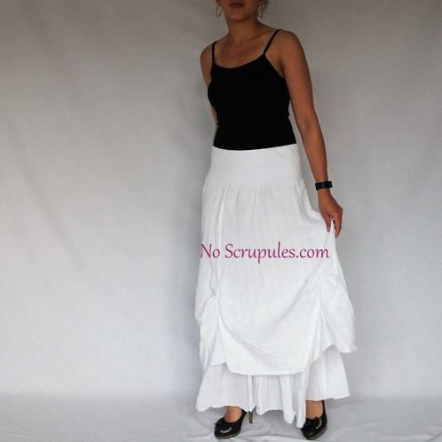 007ab538548e98 Jupe longue en coton blanc grande taille / NoScrupules