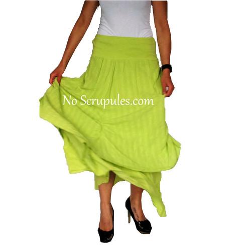 d59ca9e064b828 Jupe longue en coton vert anis grande taille