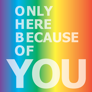 LGBT Rainbow Logo wth OHBOYGAMES logo: Only Here Because Of You which symbolizes that our LGBT Board Card Game Business only exists because of the efforts of others in the LGBTQ equality fight!