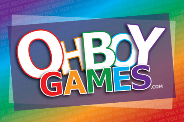 OHBOYGAMES Logo.  OHBOYGAMES is new traditonal game company which creates LGBTQ games and puzzle books.