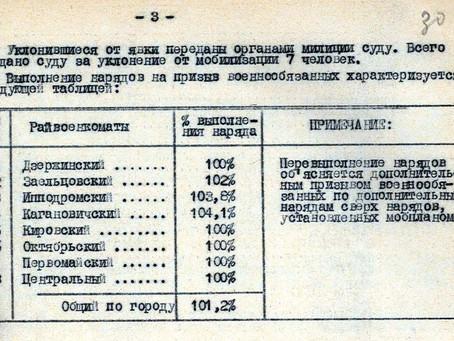 К 10 июля 1941 г. ...план мобилизационной работы выполнен на 101,2 %