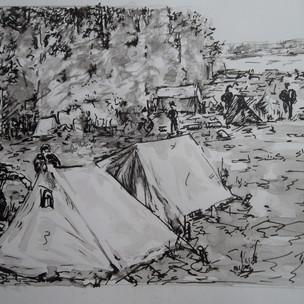 Палаточный городок эвакуированных