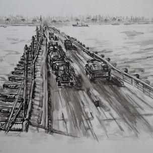 Понтонный мост через Обь
