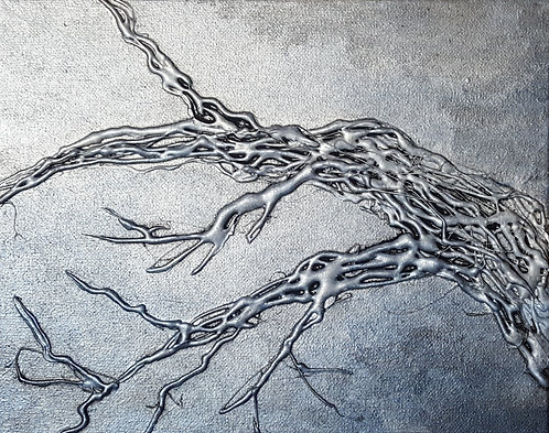 Tree Branch Silver and Blue