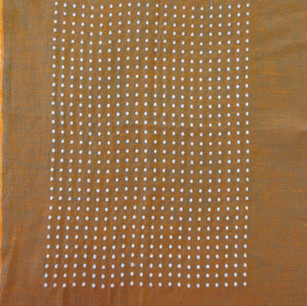 Linen fabric with silver thread.