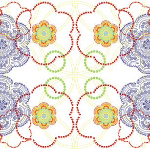 Digital print inspired by folk patterns.