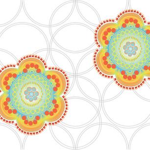 Digital print with folk floral details.