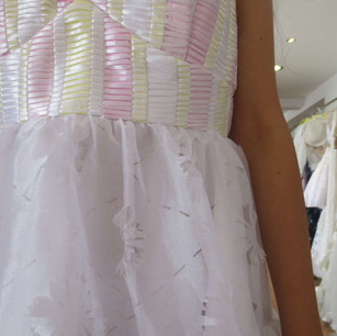 Dress with weave and lazer cut design.