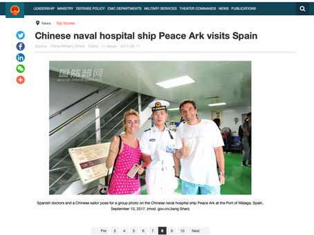 El Ministerio de Defensa de la R.P. de China se hace eco de nuestra visita al Arca de la Paz